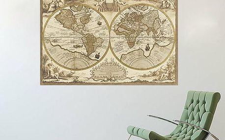 Samolepka na zeď - retro mapa