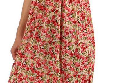 Květinové letní šaty se žabkováním červená