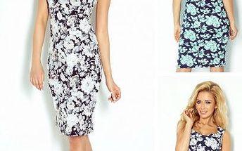Květované šaty s průstřihem na zádech Diana