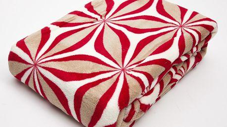 Deka z mikrovlákna CASIOPEA 150x200 cm, červená, geometrický vzor Essex