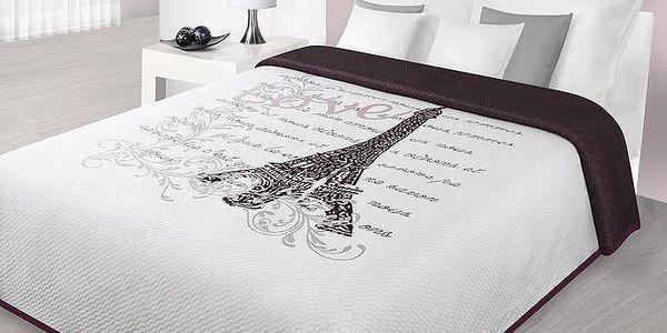 Přehoz na postel, PARIS WITH LOVE 220x240 cm, bílá/vínová, Mybesthome