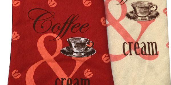 Kuchyňská rukavice chňapka COFFEE CREAM červená 18x30 cm, mikrovláknová utěrka, Essex