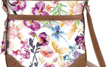 Bílá kabelka s barevnými květy SKPA-T, 29 x 27 cm