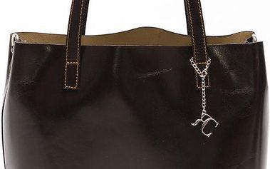 Kožená kabelka Renata Corsi 3001, tmavě hnědá - doprava zdarma!