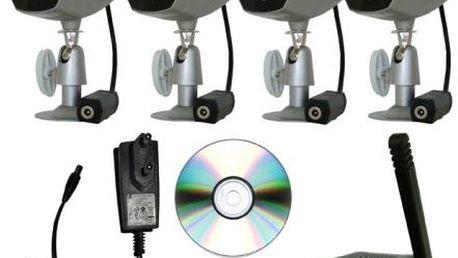 Exteriérový monitorovací systém - 4x bezdrátová kamera a bezdrátový USB záznamník