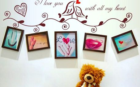 Samolepka na zeď s rámečky - zamilovaní ptáčci