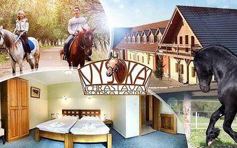 Jizerské hory, koňská Farma Vysoká: 3 dny pro dva se stravou, vínem a možností projížďky
