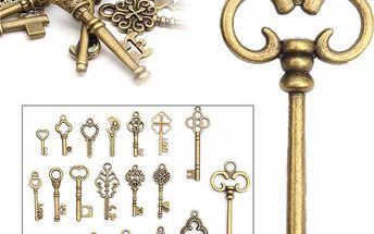 Sada vintage dekoračních klíčů - 20 kusů
