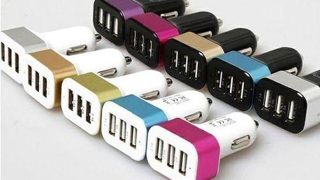 Nabíječka do auta 3x USB - ZELENÁ VCAN CT25108B001