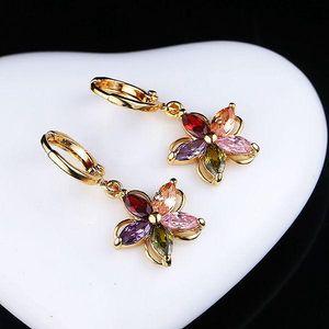 Pestrobarevné náušnice - květiny - poštovné zdarma
