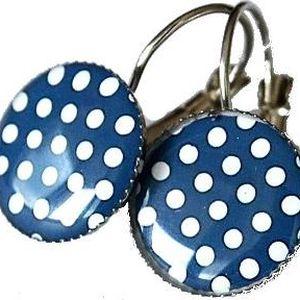 Naušnice - Modré s puntíky