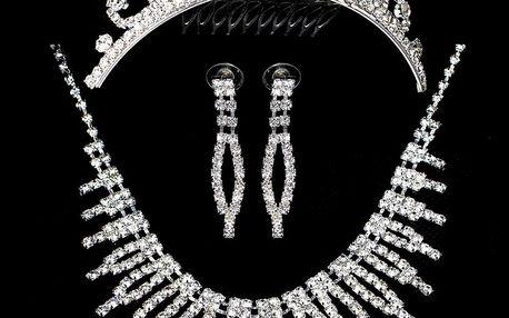Fashion Icon Štrasová sada Spike náhrdelník, náušnice a korunka