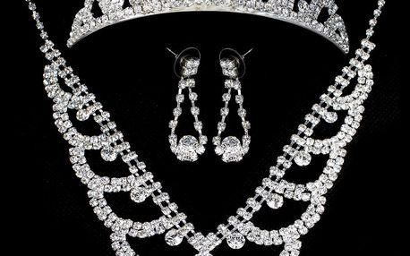 Fashion Icon Štrasová sada Waves náhrdelník, náušnice a korunka