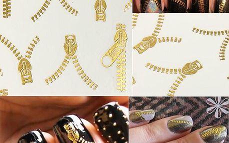 20 kusů dekorace na nehty v designu zipu - zlatá barva - dodání do 2 dnů