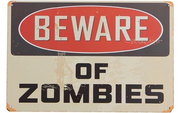Plechová cedule - pozor na zombie - dodání do 2 dnů