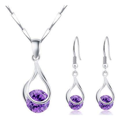 Sada šperků s přívěskem ve tvaru kapky s fialovým kamínkem