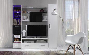 Bílá obývací stěna s LED osvětlením PRESTO 200