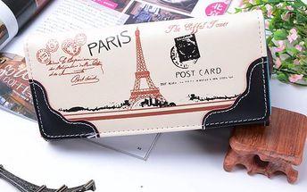 Dámská vintage peněženka s motivem Paříže - černá - skladovka - poštovné zdarma