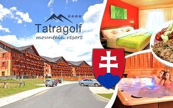 Léto v Tatrách.Tatragolf Mountain Resort**** na 3-7 dní pro 2 osoby a dítě do 6 let v luxusně zařízených apartmánech. Letní Vysoké Tatry vás okouzlí. Nádherný výhled na panorama horských vrcholů, krásné wellness centrum, dětský koutek a vlastní Aquapark.