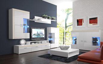 Luxusní obývací stě›na v bílém lesku Pablo