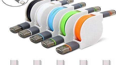 USB kabel s automatickým navíjením a třemi konektory - 1 metr