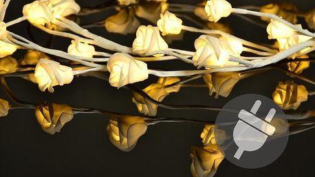 Dekorační LED osvětlení - růže - 48 LED, teplá bílá