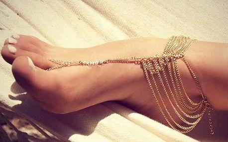 Náramek na nohu - vícevrstvý - zlatá barva - dodání do 2 dnů