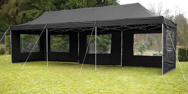 Zahradní párty stan černý pavilon 3 x 9 m + boční díly3