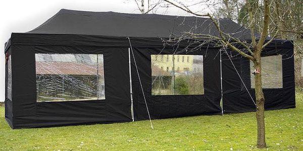 Zahradní párty stan černý pavilon 3 x 9 m + boční díly5