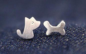 Asymetrické náušnice - pes a kost - dodání do 2 dnů