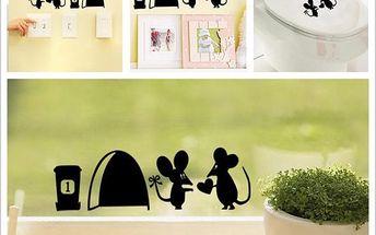 Samolepka se zamilovanými myškami