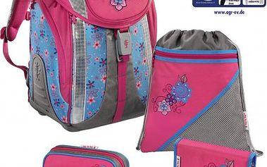 Dívčí školní set s batohem, penálem, pouzdrem, pytlíkem na přezůvky