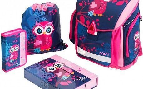Školní set s motivem sovy: batoh, penál, sáček na cvičky a desky