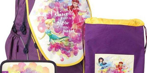 Školní set Sun Ce Disney Víla Zvonilka - batoh, penál, sáček žlutý/fialový + Doprava zdarma