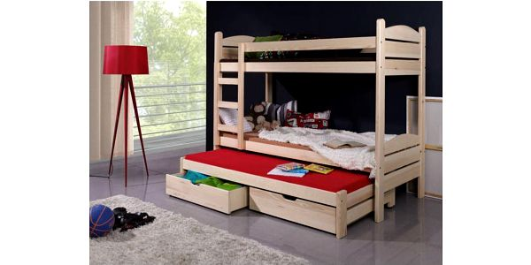 Dětská patrová postel Albert z masivu s přistýlkou a 2 šuplíky s úložným prostorem