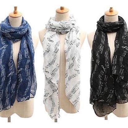 Jemný dámský šátek s motivy notiček