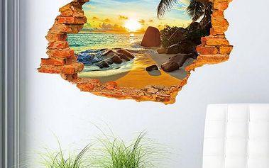 3D samolepka na zeď - Pláž v západu slunce - dodání do 2 dnů