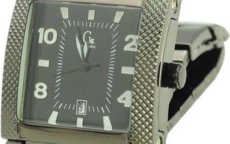 Pánské hodinky s obdélníkovým ciferníkem v černé barvě