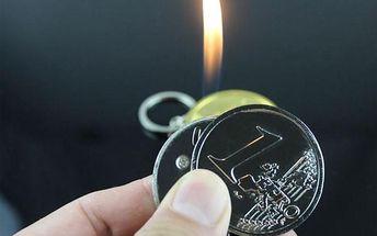 Zapalovač na klíče v podobě Eura - poštovné zdarma
