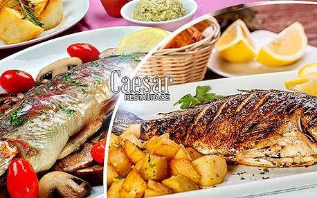 Menu pro 2 osoby: 2x pečený pstruh, rozmarýn nebo houby, vařený brambor, příloha a omáčka