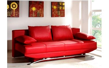 Červená pohovka s úložným prostorem Olivier – rozkládací