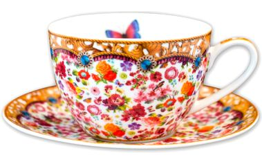 Porcelánový šálek s podšálkem Melli Mello Isabelle, 250 ml