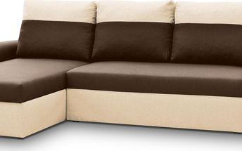 Rohová sedačka MORY KORNER, hnědá/béžová