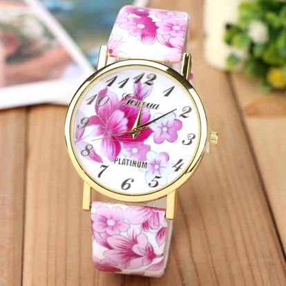 Dámské hodinky s barevnými květinami na ciferníku
