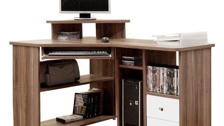 Rohový PC stůl TCHEODOR, švestka/bílá