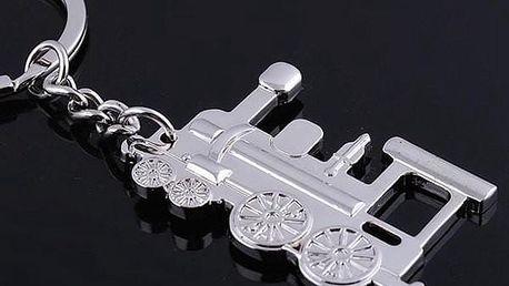 Lokomotiva - klíčenka ve stříbrné barvě - dodání do 2 dnů