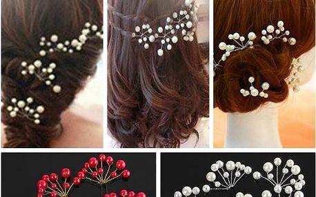 Perlové sponky do vlasů - 6 ks