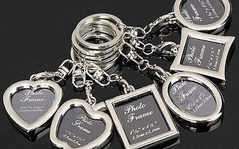 Přívěsek na klíče s rámečkem na fotku - srdce - dodání do 2 dnů