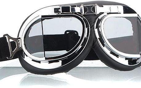 Motorkářské brýle stříbrné - čirá skla
