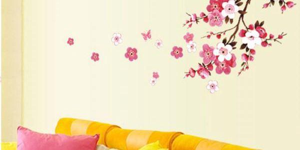Samolepka na zeď - Rozkvetlá větev třešně - poštovné zdarma